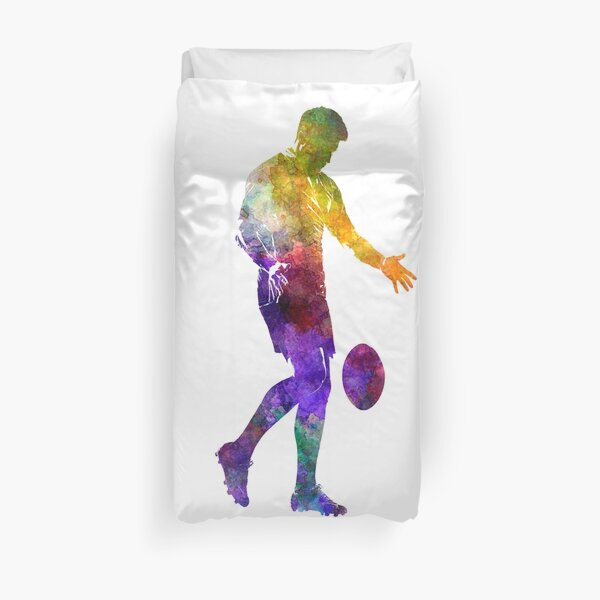 Rugby man player 02 in watercolor Duvet Cover