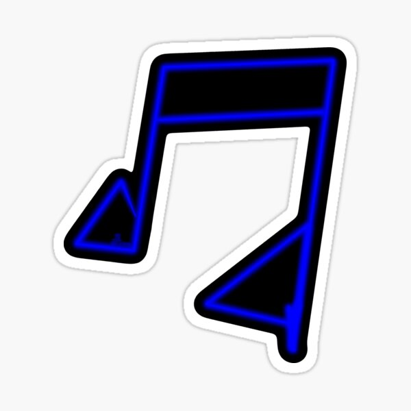Blue Neon Music Note Abstract Glossy Sticker