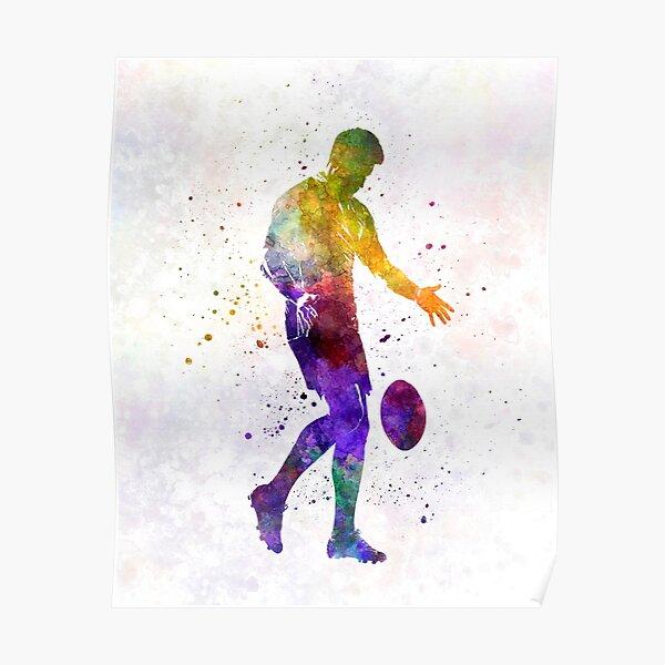 Rugby man joueur 02 à l'aquarelle Poster