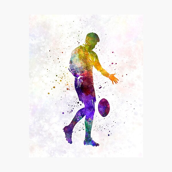 Rugby man player 02 in watercolor Photographic Print