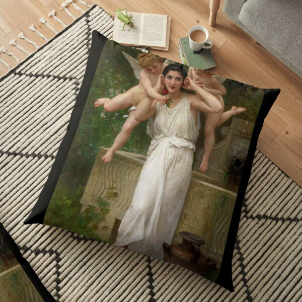Realism Renaissance Famous Paintings: Youth, 1893, William-Adolphe Bouguereau Floor Pillow