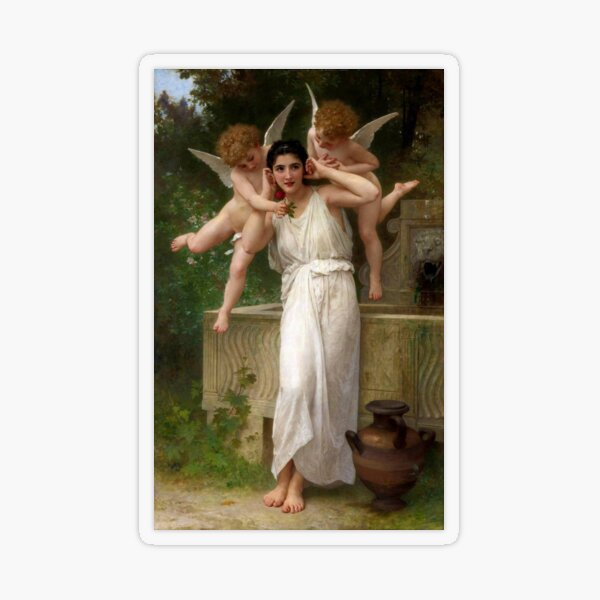 Realism Renaissance Famous Paintings: Youth, 1893, William-Adolphe Bouguereau Transparent Sticker