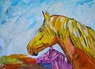Yellow And Pink Horse by Juhan Rodrik