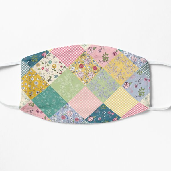 Spring cottage patchwork diamond quilt by Tea with Xanthe Flat Mask