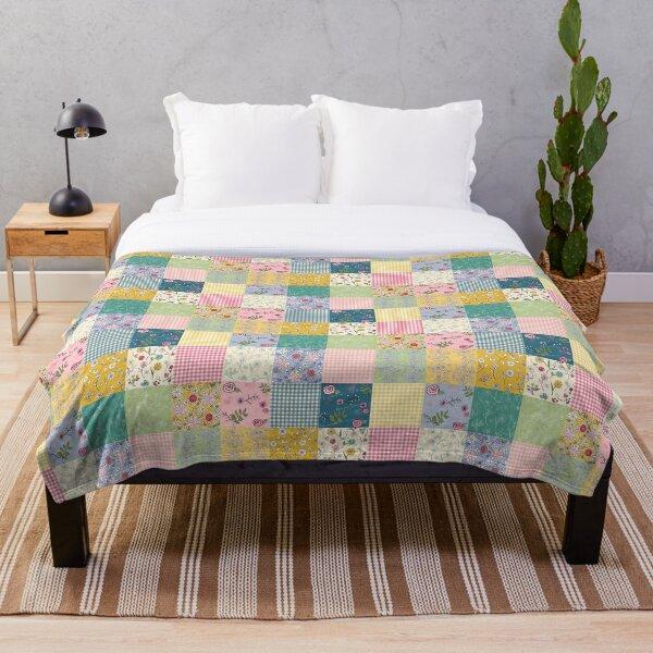 Spring Cottage patchwork quilt Throw Blanket