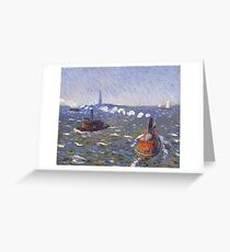 William Glackens - Breezy Day, Tugboats, New York Harbor  Greeting Card