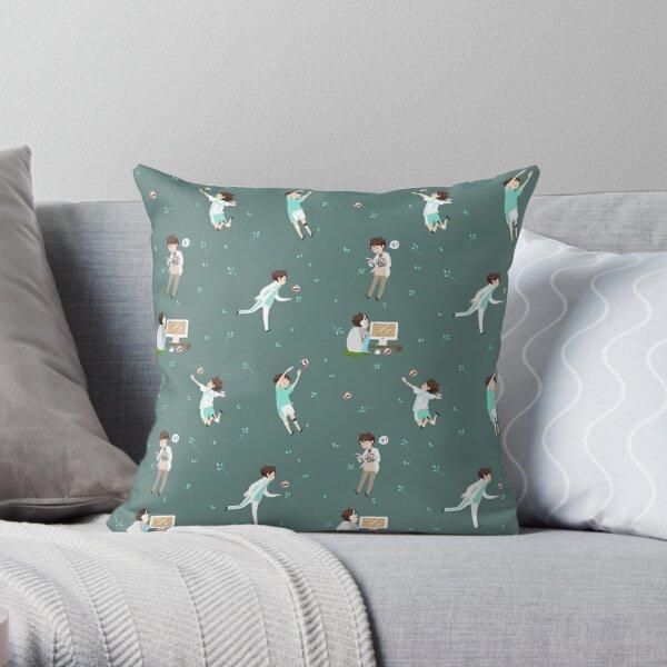 Oikawa Tooru Pattern - green Throw Pillow