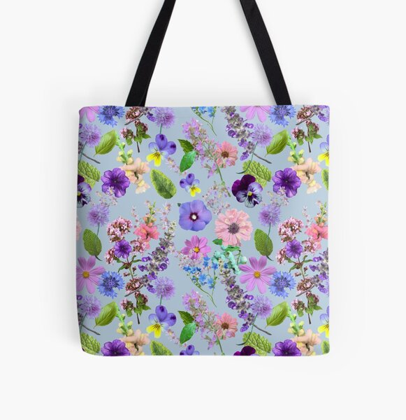Flower cuttings from the garden in mint by Tea with Xanthe All Over Print Tote Bag
