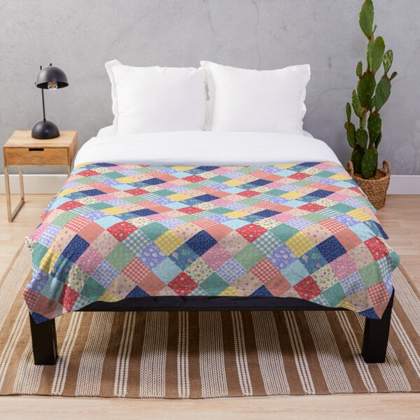 Happy farmhouse patchwork diamond quilt by Tea with Xanthe Throw Blanket
