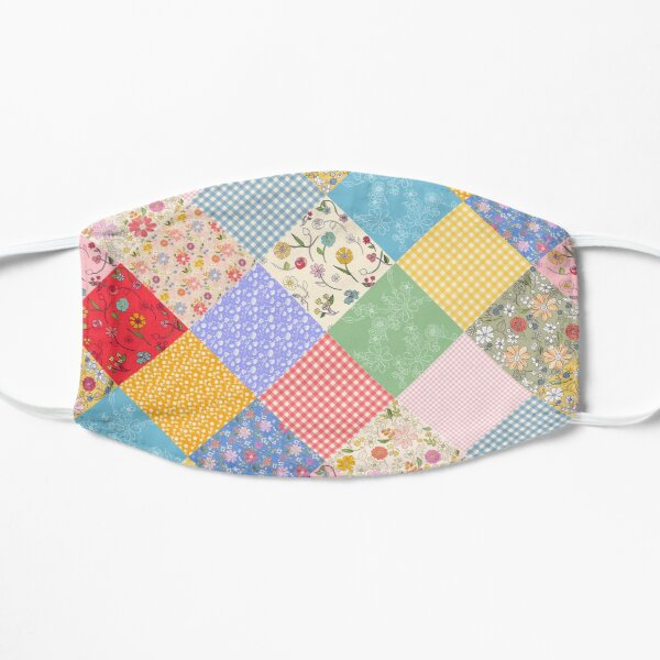 Happy cottage patchwork diamonds by Tea with Xanthe Flat Mask