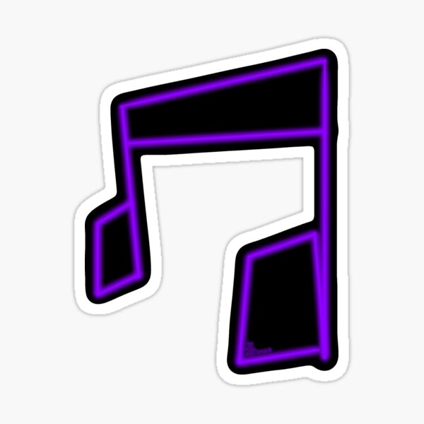Purple Neon Music Note Abstract Glossy Sticker