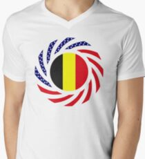 Belgian American Multinational Patriot Flag Series Men's V-Neck T-Shirt