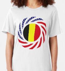 Belgian American Multinational Patriot Flag Series Slim Fit T-Shirt