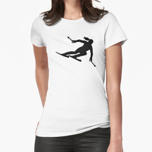 Skiing woman Fitted T-Shirt