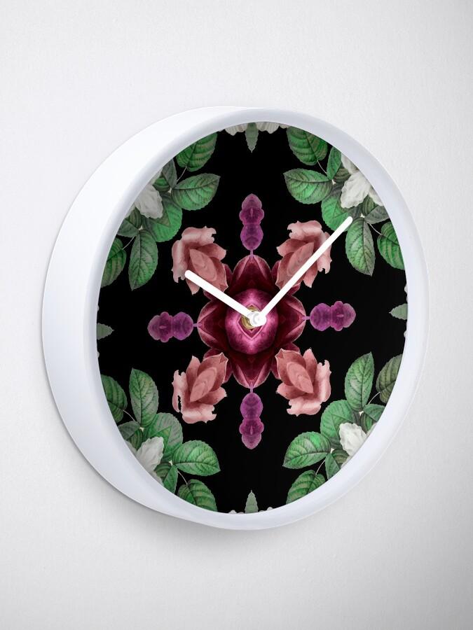 Chic Ornate Elegant Floral Square Tile Artwork Clock by Pamela Arsena
