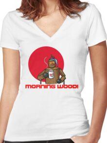 Good Morning Wood!!! Women's Fitted V-Neck T-Shirt