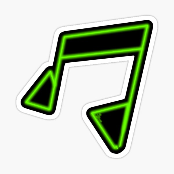 Green Neon Music Note Abstract Glossy Sticker