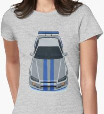 The Gray and Blue Womens Fitted T-Shirt