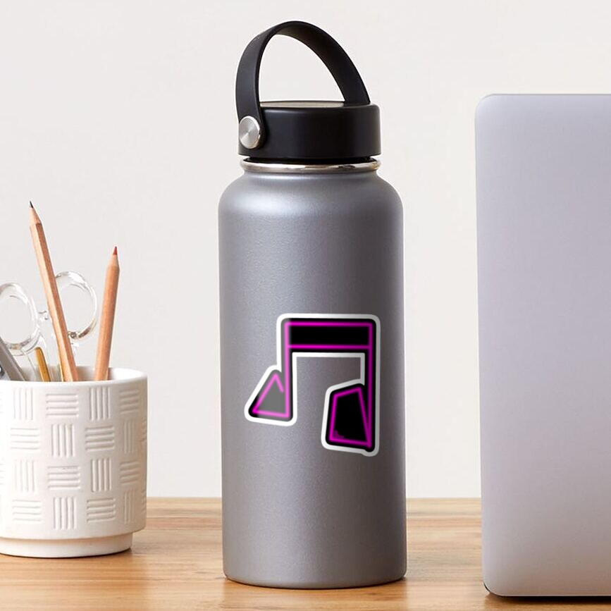 Pink Neon Music Note Abstract Sticker