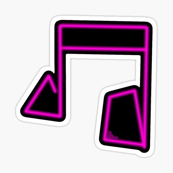 Pink Neon Music Note Abstract Glossy Sticker