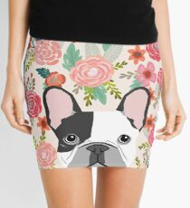 French Bulldog florals cute spring summer dog gifts pet portraits for frenchie owners Mini Skirt
