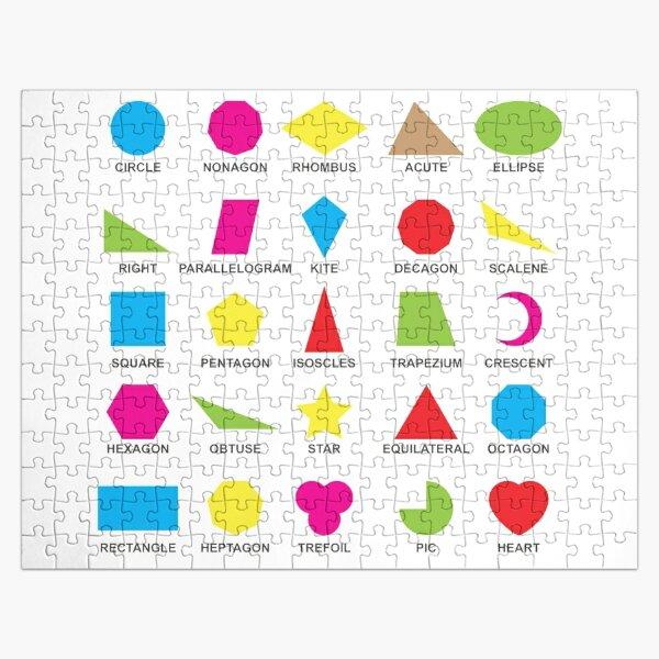 Geometric shapes: CIRCLE, NONAGON, RHOMBUS,  ACUTE,  ELLIPSE, RIGHT, PARALLELOGRAM, KITE, Decagon Jigsaw Puzzle