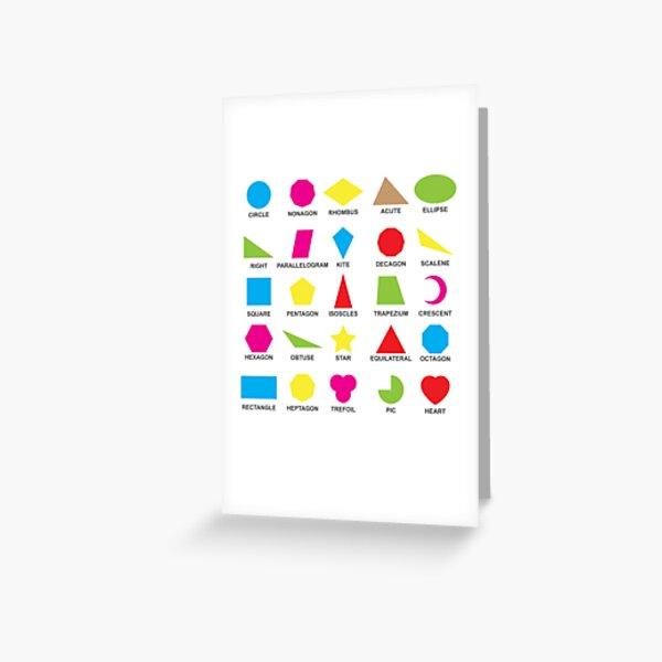 Geometric shapes: CIRCLE, NONAGON, RHOMBUS,  ACUTE,  ELLIPSE, RIGHT, PARALLELOGRAM, KITE, Decagon Greeting Card