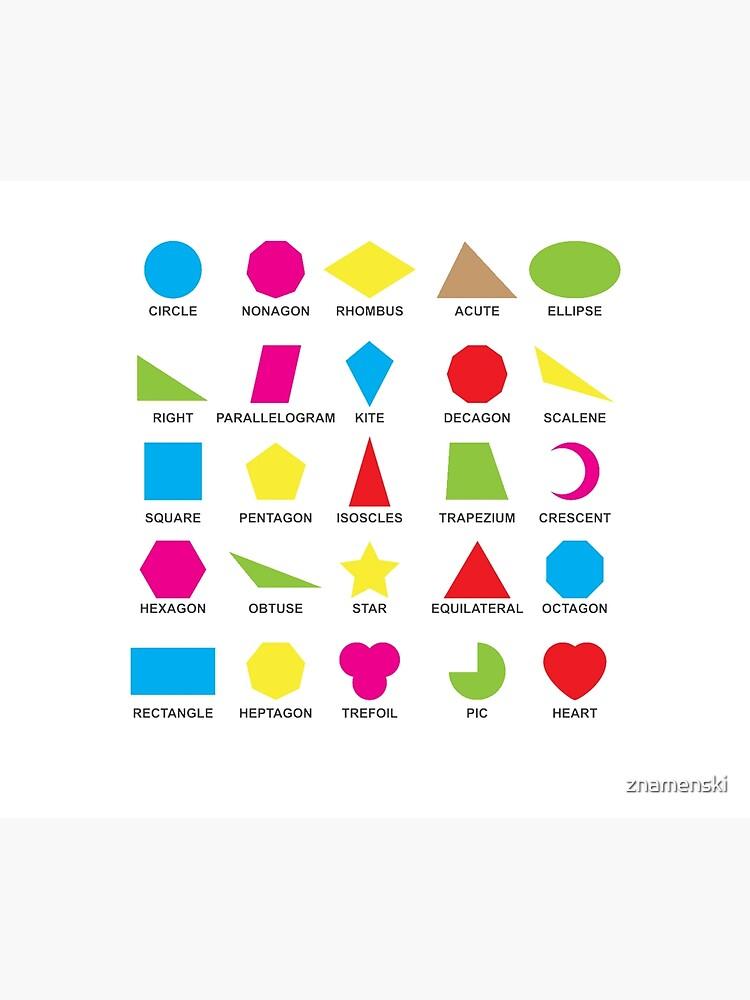 Geometric shapes: CIRCLE, NONAGON, RHOMBUS,  ACUTE,  ELLIPSE, RIGHT, PARALLELOGRAM, KITE, Decagon by znamenski