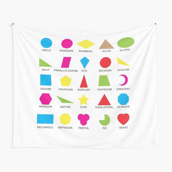 Geometric shapes: CIRCLE, NONAGON, RHOMBUS,  ACUTE,  ELLIPSE, RIGHT, PARALLELOGRAM, KITE, Decagon Tapestry