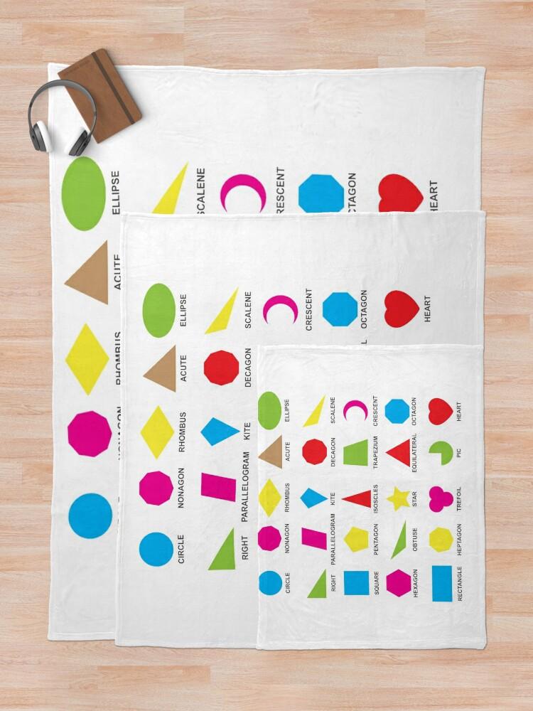 Alternate view of Geometric shapes: CIRCLE, NONAGON, RHOMBUS,  ACUTE,  ELLIPSE, RIGHT, PARALLELOGRAM, KITE, Decagon Throw Blanket