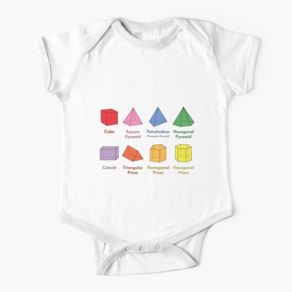 3D Shapes: Cube, Square Pyramid, Tetrahedron, Triangular Pyramid, Hexagonal Pyramid, Cuboid, Triangular Prism, Pentagonal Prism, Hexagonal Prism  Short Sleeve Baby One-Piece