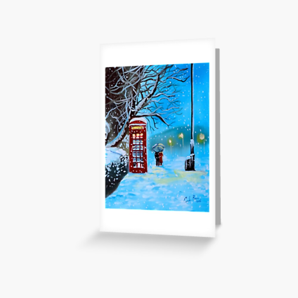 Snowy London red phone box painting by Gordon Bruce Greeting Card