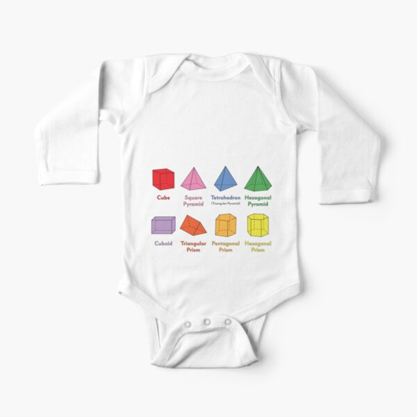 3D Shapes: Cube, Square Pyramid, Tetrahedron, Triangular Pyramid, Hexagonal Pyramid, Cuboid, Triangular Prism, Pentagonal Prism, Hexagonal Prism  Long Sleeve Baby One-Piece