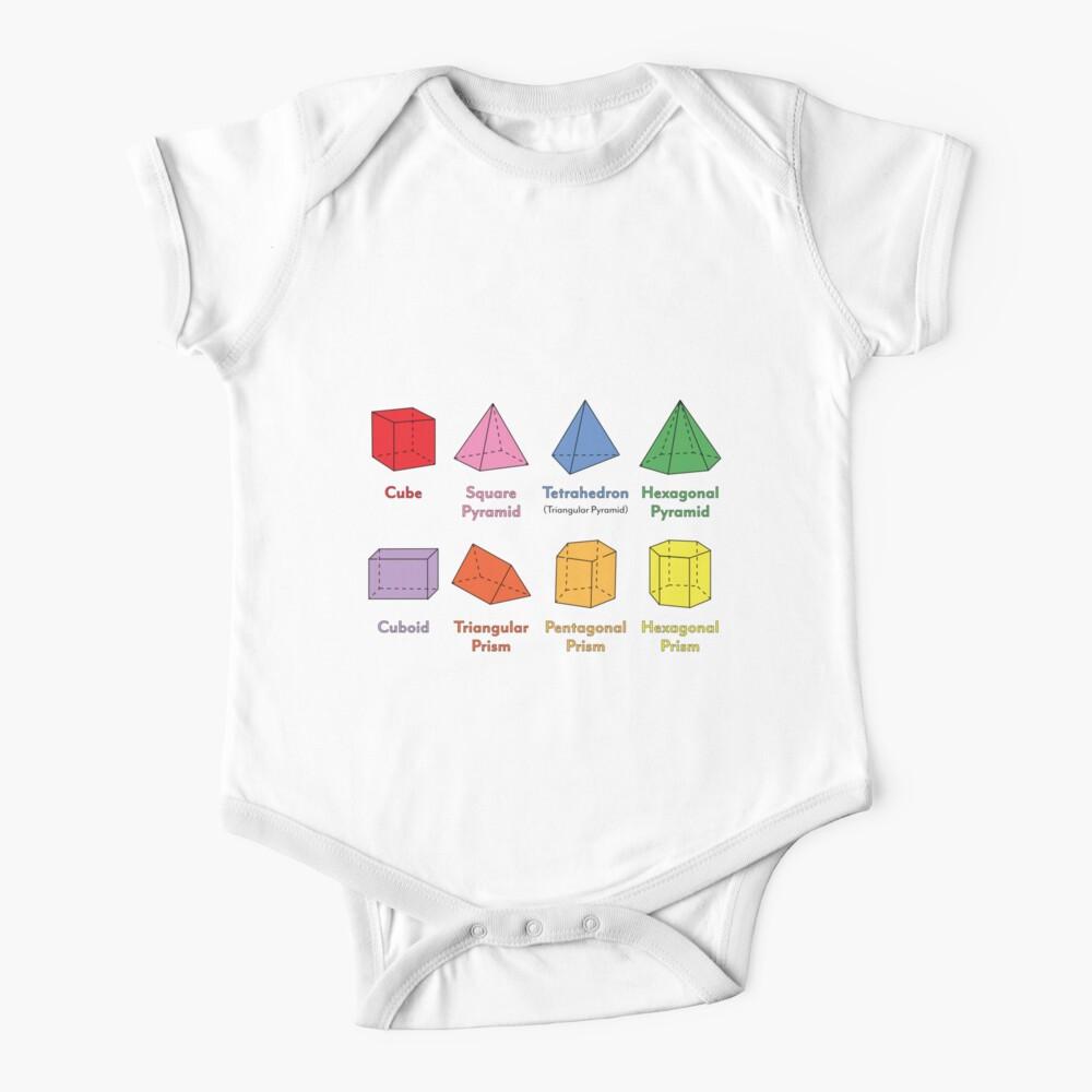 3D Shapes: Cube, Square Pyramid, Tetrahedron, Triangular Pyramid, Hexagonal Pyramid, Cuboid, Triangular Prism, Pentagonal Prism, Hexagonal Prism  Baby One-Piece