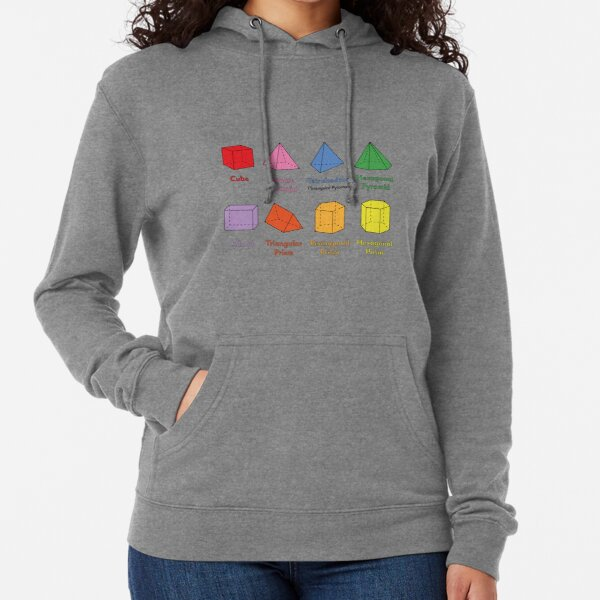 3D Shapes: Cube, Square Pyramid, Tetrahedron, Triangular Pyramid, Hexagonal Pyramid, Cuboid, Triangular Prism, Pentagonal Prism, Hexagonal Prism  Lightweight Hoodie
