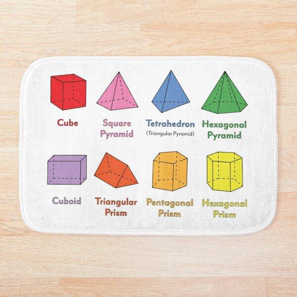 3D Shapes: Cube, Square Pyramid, Tetrahedron, Triangular Pyramid, Hexagonal Pyramid, Cuboid, Triangular Prism, Pentagonal Prism, Hexagonal Prism  Bath Mat