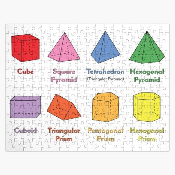 3D Shapes: Cube, Square Pyramid, Tetrahedron, Triangular Pyramid, Hexagonal Pyramid, Cuboid, Triangular Prism, Pentagonal Prism, Hexagonal Prism  Jigsaw Puzzle