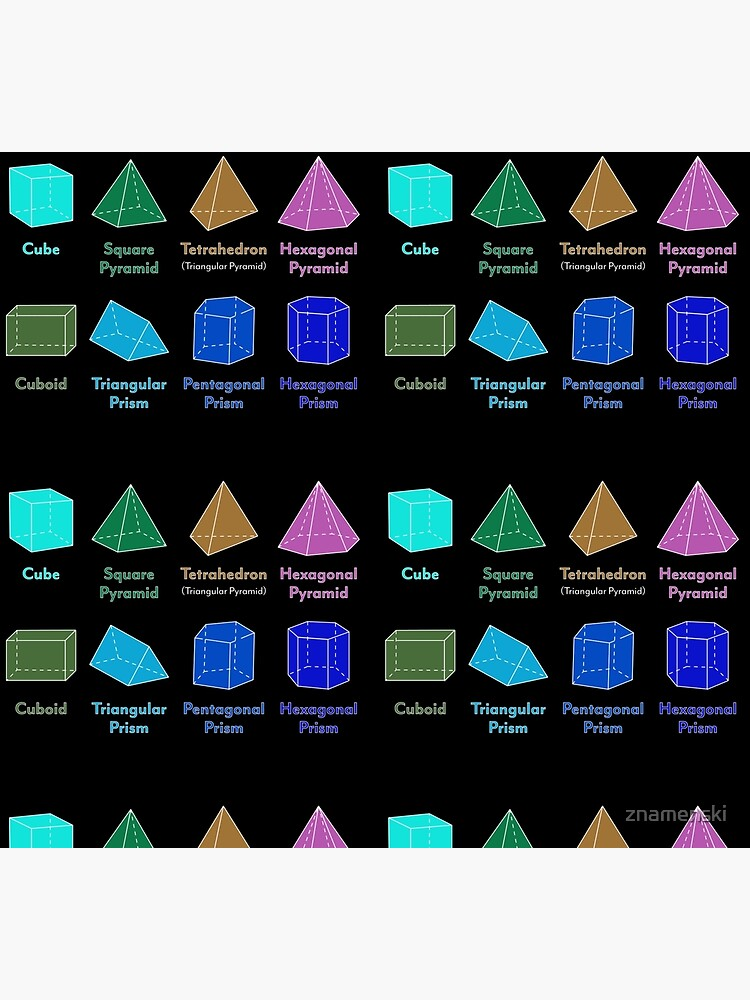 3D Shapes: Cube, Square Pyramid, Tetrahedron, Triangular Pyramid, Hexagonal Pyramid, Cuboid, Triangular Prism, Pentagonal Prism, Hexagonal Prism  by znamenski