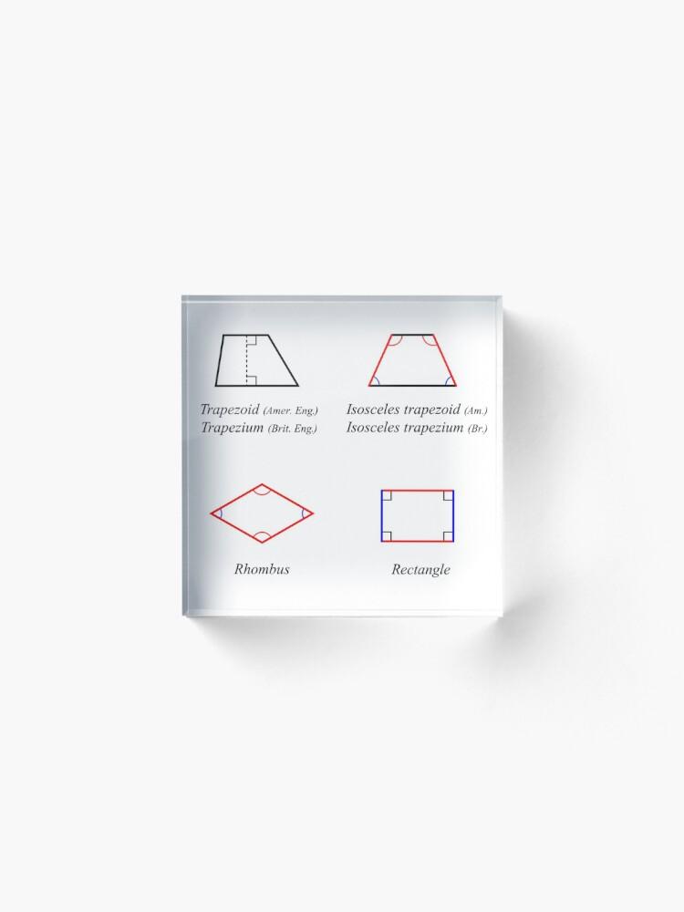 Alternate view of Geometric shapes: CIRCLE, NONAGON, RHOMBUS, ACUTE, ELLIPSE, RIGHT, PARALLELOGRAM, KITE, Decagon Acrylic Block