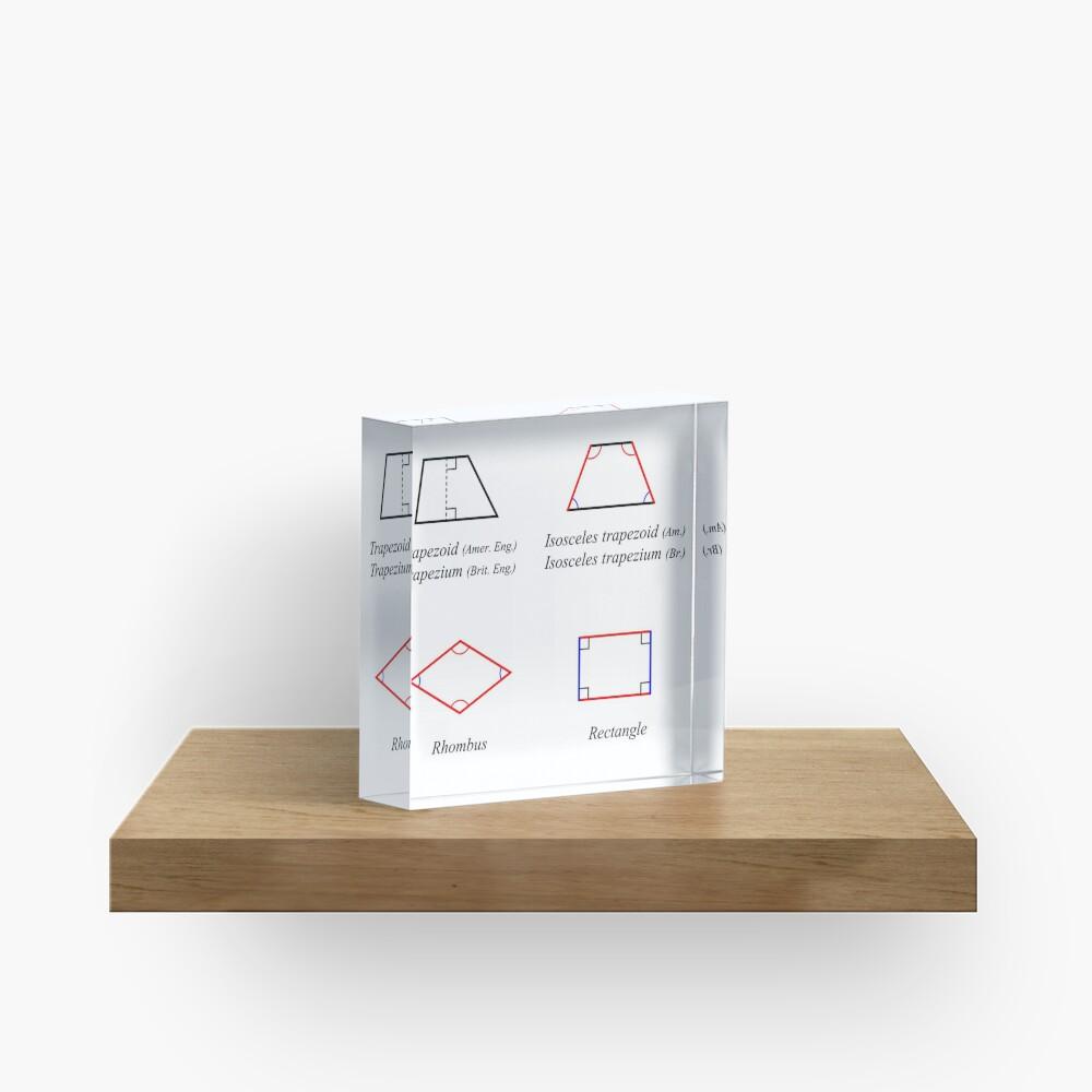 Geometric shapes: CIRCLE, NONAGON, RHOMBUS, ACUTE, ELLIPSE, RIGHT, PARALLELOGRAM, KITE, Decagon Acrylic Block
