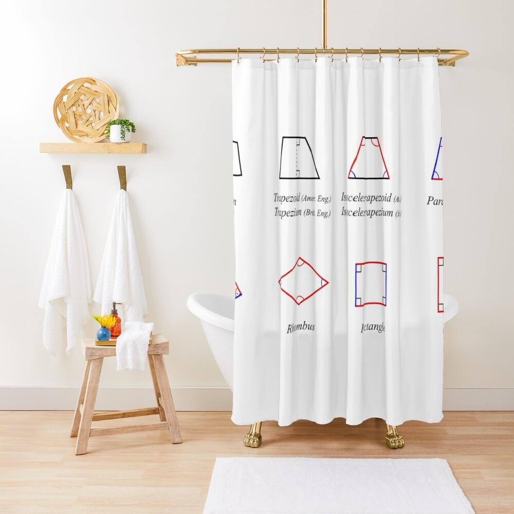 Geometric shapes: CIRCLE, NONAGON, RHOMBUS, ACUTE, ELLIPSE, RIGHT, PARALLELOGRAM, KITE, Decagon Shower Curtain