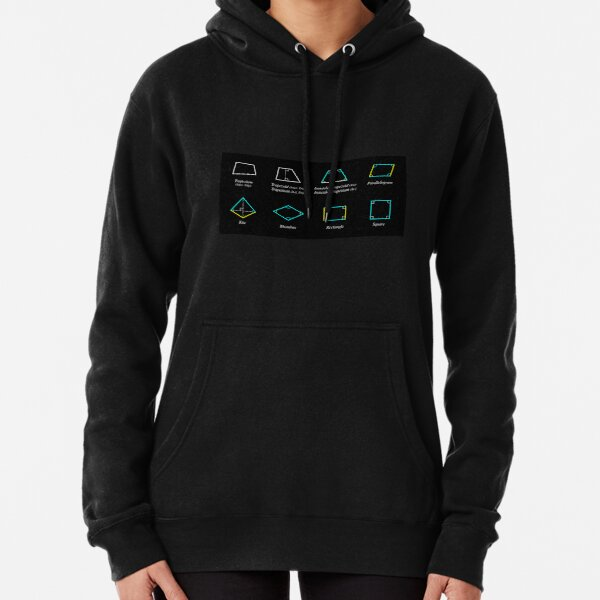 Geometric shapes: CIRCLE, NONAGON, RHOMBUS, ACUTE, ELLIPSE, RIGHT, PARALLELOGRAM, KITE, Decagon Pullover Hoodie