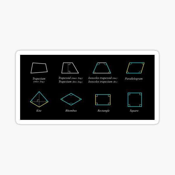 Geometric shapes: CIRCLE, NONAGON, RHOMBUS, ACUTE, ELLIPSE, RIGHT, PARALLELOGRAM, KITE, Decagon Sticker