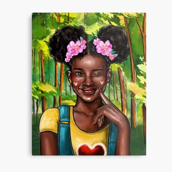 Kid Afro ponytail Metal Print