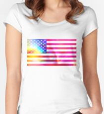 American flag Women's Fitted Scoop T-Shirt