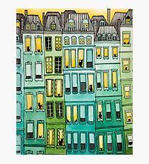 Cats in Green Townhouses Photographic Print