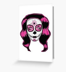 Pink Sugar Skull Girl Greeting Card