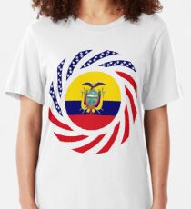 Ecuadorian American Multinational Patriot Flag Series Slim Fit T-Shirt