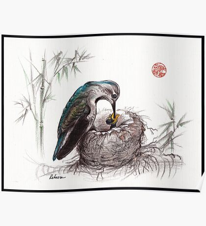 """""""A Mother's Love"""" - Mother Hummingbird and Baby Poster"""