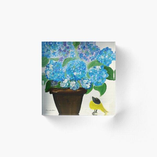Blue Hydrangeas And Yellow Bird Acrylic Block